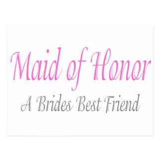 Criada del honor (mejor amigo de las novias) tarjetas postales