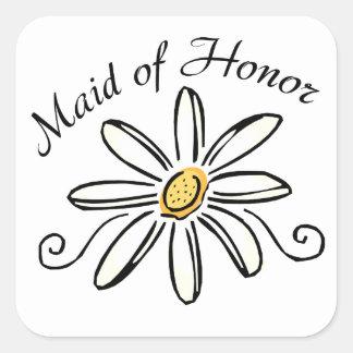 Criada del honor pegatina cuadrada