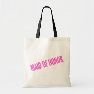 Criada del honor rosa inclinado bolsas lienzo