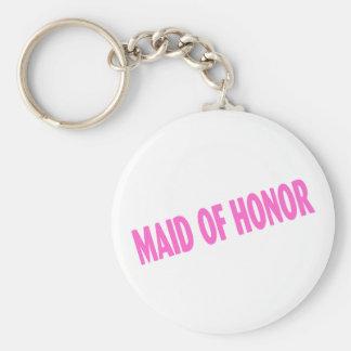 Criada del honor (rosa inclinado) llavero redondo tipo pin
