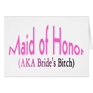 Criada del honor tarjeta de felicitación