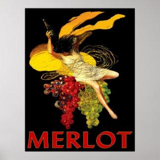 Criada del Merlot con las uvas Póster