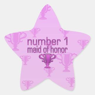 Criada del número 1 del honor pegatina en forma de estrella