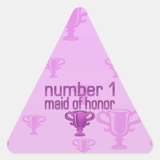 Criada del número 1 del honor pegatina triangular