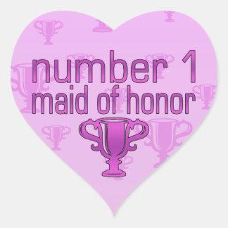 Criada del número 1 del honor pegatina en forma de corazón
