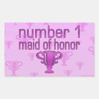 Criada del número 1 del honor pegatina rectangular