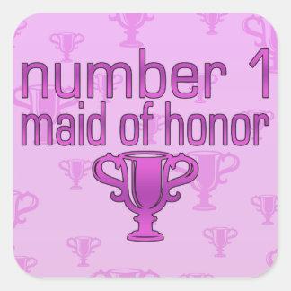 Criada del número 1 del honor pegatina cuadrada