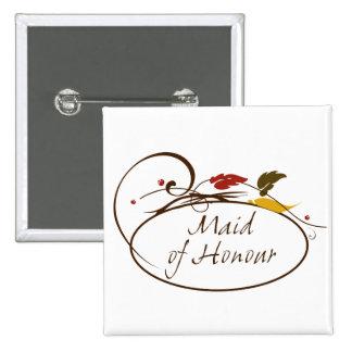 Criada del otoño del honor pin cuadrada 5 cm