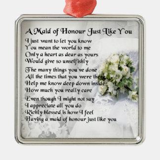 criada del poema del honor - diseño del ramo del adorno navideño cuadrado de metal