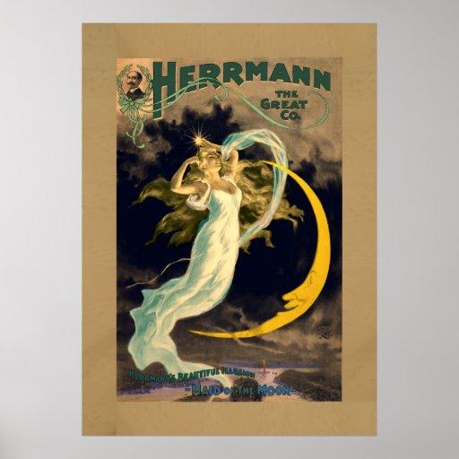 Criada del poster de teatro mágico del vintage de