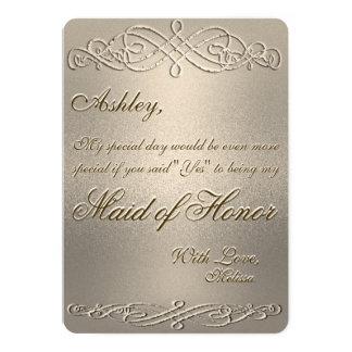 """Criada del reflejo del oro del honor el   invitación 5"""" x 7"""""""