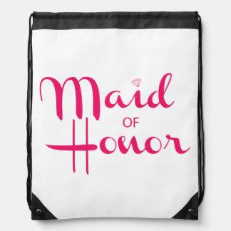 Criada del rosa retro de la escritura del honor mochila