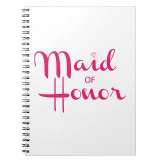 Criada del rosa retro de la escritura del honor spiral notebook