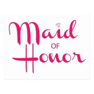 Criada del rosa retro de la escritura del honor postal