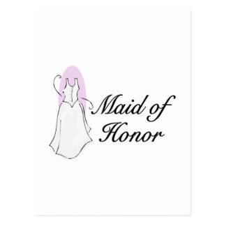 Criada del vestido del honor tarjeta postal