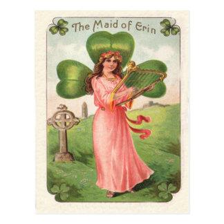 Criada del vintage de la tarjeta del día de Erin Tarjetas Postales