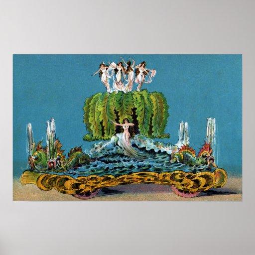 Criada del vintage del flotador del desfile de la  impresiones