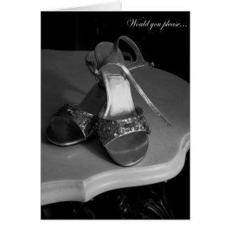Criada elegante de los zapatos de la tarjeta de fe