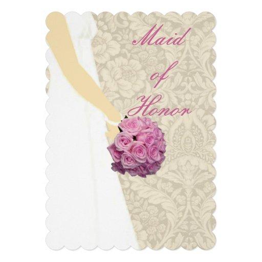 Criada elegante de vestido de boda de la tarjeta d invitaciones personales