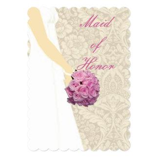 Criada elegante de vestido de boda de la tarjeta invitación 12,7 x 17,8 cm