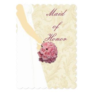 """Criada elegante de vestido de boda de la tarjeta invitación 5"""" x 7"""""""