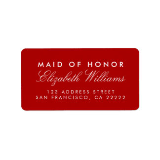 Criada elegante roja de las etiquetas del remite etiquetas de dirección