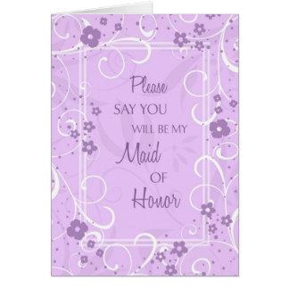 Criada floral púrpura de la tarjeta de la invitaci