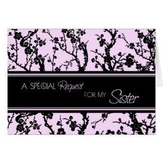 Criada floral rosada de la hermana de la tarjeta d