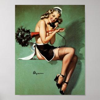 Criada francesa con el Pin del plumero para arriba Poster