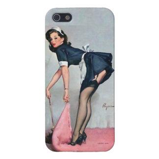 Criada francesa que barre el Pin iPhone 5 Cárcasas