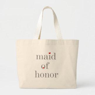Criada gris del texto del honor bolsa tela grande