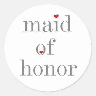Criada gris del texto del honor pegatina redonda