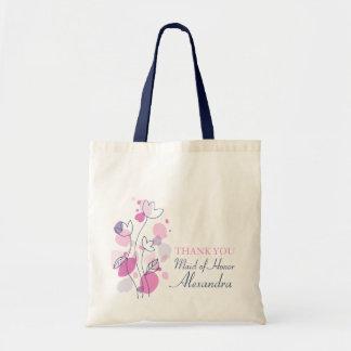 Criada moderna gráfica del boda de la flor del bol bolsa lienzo