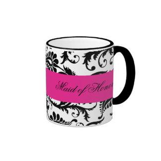 Criada negra blanca rosada del damasco de la taz