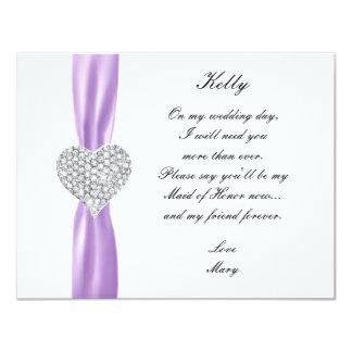 Criada púrpura del boda del corazón del diamante comunicados personales