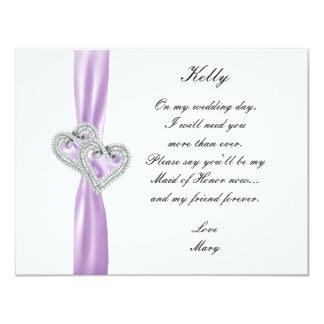 Criada púrpura del boda del corazón del diamante invitación 10,8 x 13,9 cm