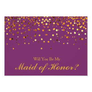 """Criada púrpura del confeti del brillo del oro del invitación 5"""" x 7"""""""