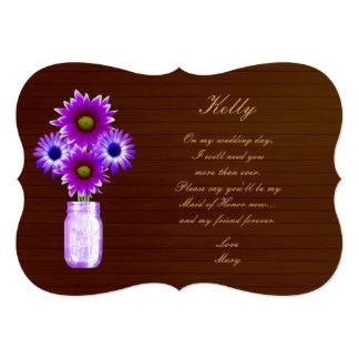 Criada púrpura rústica de tarro de albañil del invitación 12,7 x 17,8 cm