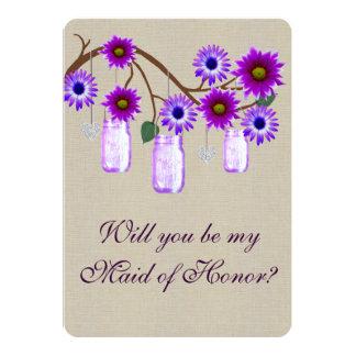 Criada púrpura rústica de tarros de albañil de la invitación 12,7 x 17,8 cm