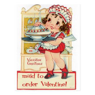Criada retra del el día de San Valentín Tarjetas Postales