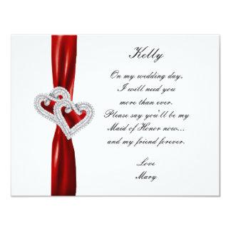 Criada roja del boda del corazón del diamante de invitación 10,8 x 13,9 cm