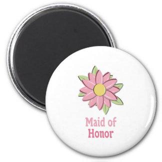 Criada rosada de la flor del honor iman de nevera