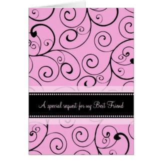 Criada rosada del mejor amigo de la tarjeta de la
