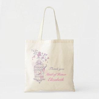 Criada rosada púrpura del boda del pájaro del bols bolsa tela barata