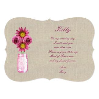 Criada rosada rústica de tarro de albañil de la invitación 12,7 x 17,8 cm