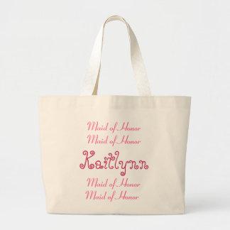 Criada rosada y blanca del bolso del boda del hono bolsa de mano