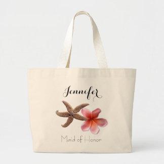 Criada tropical del boda del regalo nupcial del bolsa tela grande