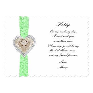 """Criada verde del boda del cordón del unicornio de invitación 5"""" x 7"""""""