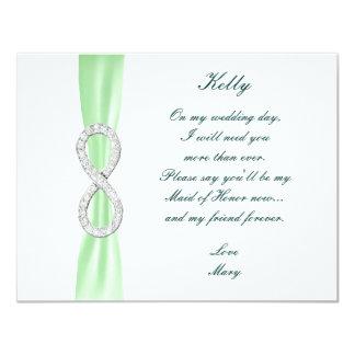 Criada verde del boda del infinito del diamante de invitación 10,8 x 13,9 cm