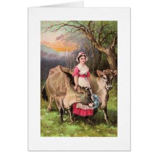 Criada y vacas, tarjeta de la lechería de felicita